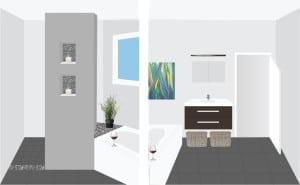 Photocopy plan showing bathroom, bath, vanity, window